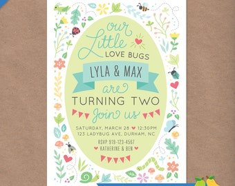 Twin Love Bugs Printable Birthday Party Invitation (any age)