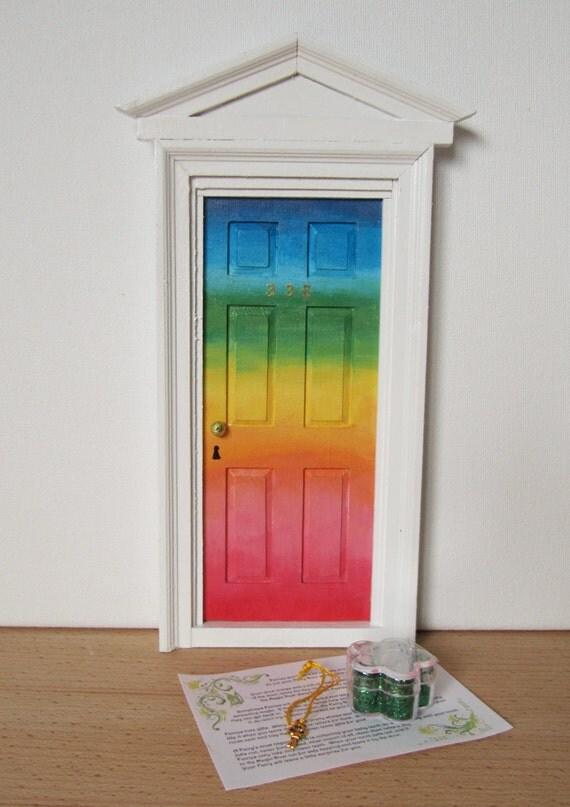 Hand painted rainbow fairy door tooth fairy by sandimcilroy for Rainbow fairy door