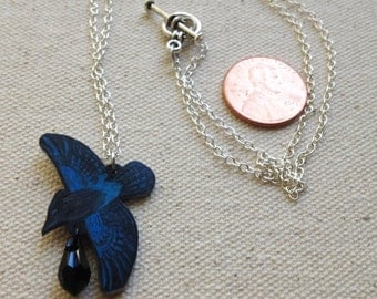 Hand Drawn Flying Steller's Jay (Cyanocitta stelleri) Charm Necklace (MADE TO ORDER)