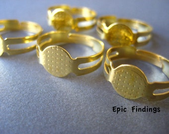 SALE!! Gold Plated Adjustable Flat Ring Pad Base Blanks Finding, Cabochon Base Jewelry Design, Craft Supply