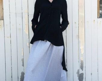 Black Asymmetric Shirt / Loose Tunic / Long Black Top / Black Shirt / Asymmetric Black Top / Extravagant Black Casual Shirt by METAMORPHOZA