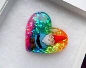 Gnome Heart Shaped Pendant Necklace Rainbow Glitter Kawaii Kitsch Candy Festival Summer Charm Playful