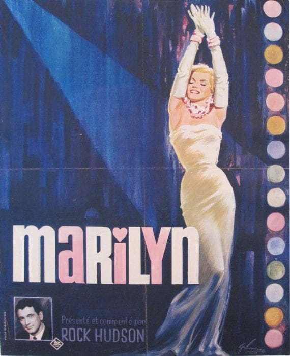 1963 marilyn monroe poster 1960s french vintage documentary. Black Bedroom Furniture Sets. Home Design Ideas