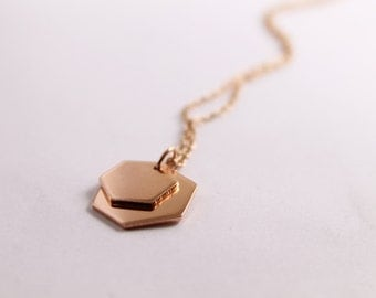 Layered Copper Hexagon, Minimalist Geometric Pendant, Small and Large Layered Hexagon Disks ,Handmade from Recycled Copper, Copper Hexagon