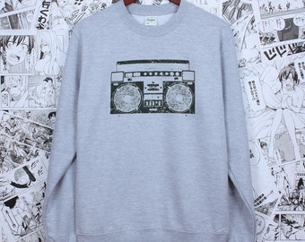 Ghettoblaster Boom Box - Retro Ghetto Blaster - Old School Hip Hop Print Sweatshirt - Hand Screen Printed Long Sleeve Jumper