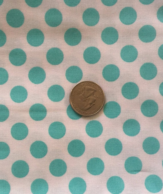 Aqua Polka Dot Fabric/ Aqua On White/Michael Miller Ta Dot