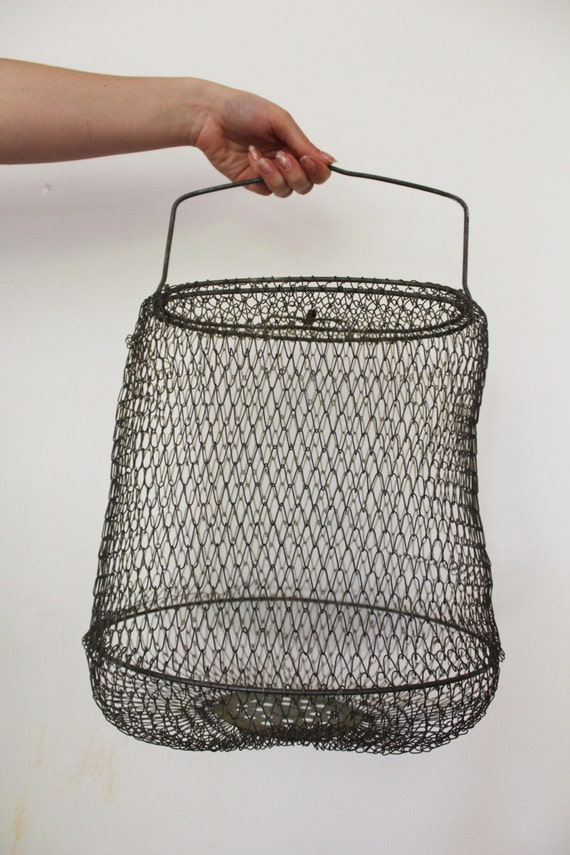 Soviet collapsible wire fish basket vintage fishing tool for Fish wire basket