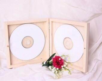 double CD/DVD wooden unfinished box, square lid, eco, unpainted plain wood decoupage, CD case, keepsake wedding dvd box, wooden box