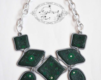 necklace Wonderful green Gift Emerald Mothers day Great Filigree Polymer jewelry