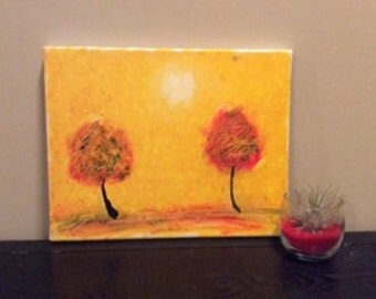 Golden Life, textured tree painting