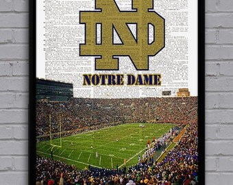 Notre Dame Art Print With Stadium On Dictionary Page. Nice Gift For College  Football Fan Part 84