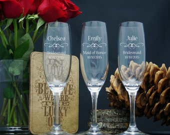 Personalized Champagne Glasses / Bridesmaids Gifts / Engraved / Etched Champagne Flutes / Custom Engraved Wedding Glasses / 16 DESIGNS