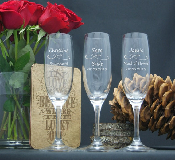 Wedding Champagne Glasses / Personalized Bridesmaids Gifts / Engraved ...