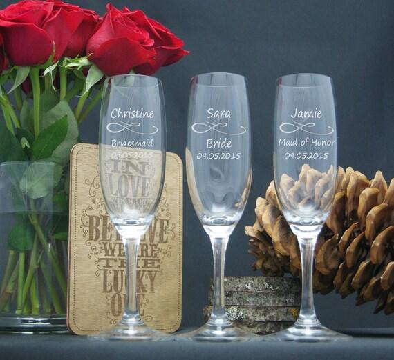 Wedding Gift Personalized Wine Glasses : Wedding Champagne Glasses / Personalized Bridesmaids Gifts / Engraved ...