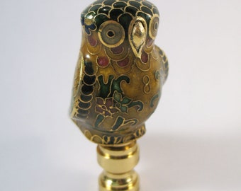 Lamp Finial: Cloisonne Owl with Feathers of Many Colors  (ET70)