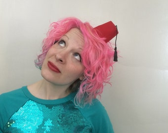 Mini Red Fez Hair Clip: Cosplay, Costume, Dr. Who, Fezzes are Cool, Novelty Fascinator
