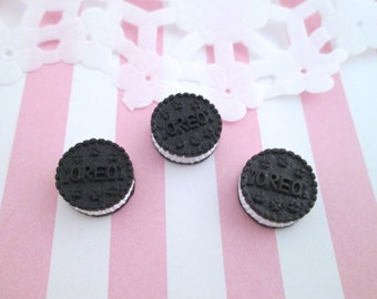 """Small Chocolate """"Oreo"""" Cookie Kawaii Cabochons Decoden Sweets Miniature Cookies,  #134a"""