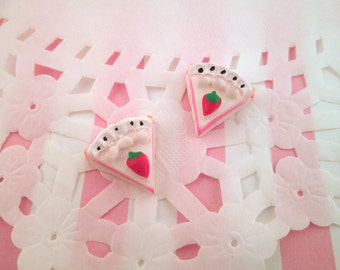 White Layer Cake Slice Cabochons Decoden Kawaii, #145b