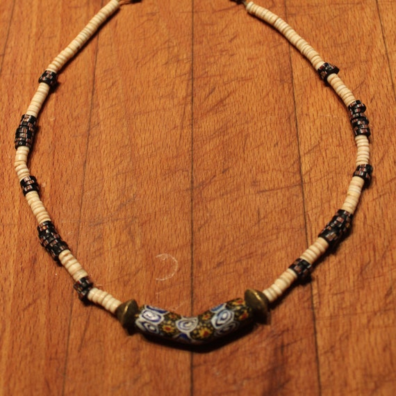 Mens Native American Beads: 1960's Hippy Beads Native American Necklace 16 1/2
