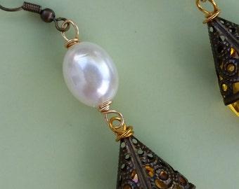 Bronze Gold Dangle Earrings