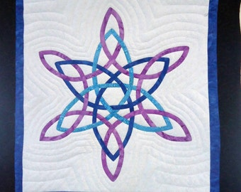 Celtic Knot Snowflake Quilted Wall Hanging in royal blue, turquoise & magenta