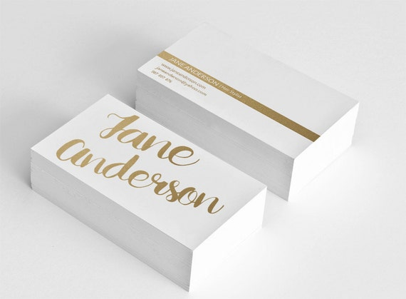 Golden business card template hair stylist business card design gold il570xn flashek Images