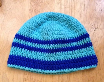 Beanie hat for men and women in two shades of blue - turquoise blue and royal blue