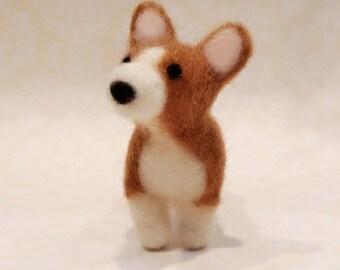 Needle Felted Corgi, Felted Corgi Puppy, Miniature Corgi
