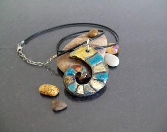 ceramic Pendant / necklace raku jewel - Nautilus