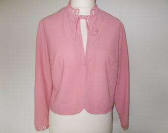 Vintage jacket 60s by Davisella Made in England Dusky Pink jacket cardigan size large