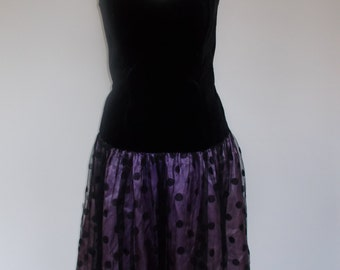 Vintage evening dress  80s Soft Touch Made in Ireland black velvet strapless dress with purple spotted skirt size small