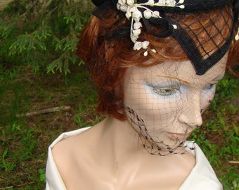 1950s Black Organza Cap with White Flowers