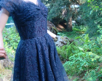 1940s Dark Blue Lace Ballgown (Mid Calf Length) - Size 8
