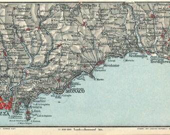 1927 French Riviera & Italian Riviera Antique Map