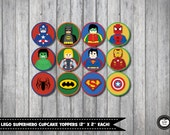 12x LEGO SUPERHERO Cupcake Toppers. 2 Inches. Superhero Party. Superhero Birthday. Party Supplies. INSTANT Download. Party Favors. Batman