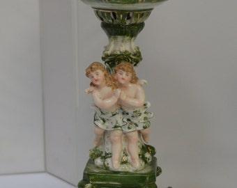 Dresden German Porcelain Banquet Lamp Cherubs & Flowers