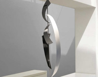 "Modern Mid Century Abstract Metal Art Decor Sculpture - Black and White ""Yin Yang"" by Dustin Miller"