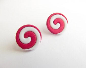 Mint Swirl Earrings, Peppermint Candy, Stud Post Earrings, Red and White, Christmas Jewelry, Holiday Earrings