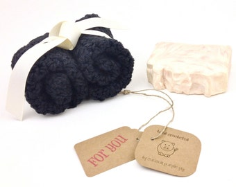 Black Dishcloths Set of 2 Cotton Washcloths Crocheted Dishcloths Knit Wash Cloth Two Handmade Dish Cloths Housewarming Gifts Kitchen Cloths
