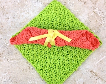 Salmon Lime Green Dish Cloth Crochet Cotton Dishcloths Handmade Dishcloth Set Crochet Dishcloths Bright Green Tangerine Washcloths Knit