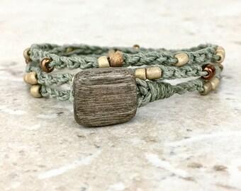 Sage Green Wrap Bracelet Hemp Anklet Wrap Wood Copper Bead Bracelet Natural Jewelry Beach Bohemian Jewelry Hemp Anklet Hippie Bracelet Boho