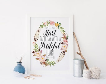 """PRINTABLE Art """"Start Each Day With a Grateful Heart"""" Typography Art Print Floral Wreath Print Feather Art Print Inspirational Quote"""