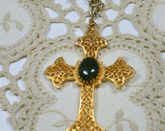 Hobe Cross Crucifix Pendant Necklace Vintage Filigree Goldtone Jade? Cabochan Stone Crucifix Religious Jewelry Cross Necklace