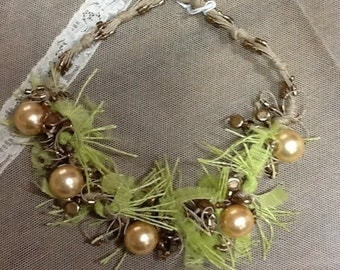 Rope necklace with beads and Golden beads