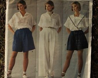 designer ralph lauren frvw  1980s vintage Vogue pattern American Designer Ralph Lauren Shorts and Pants  Size 10 Waist 25