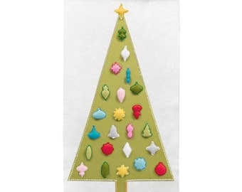 Christmas Advent Calendar Pattern - Wool Felt - Christmas Countdown - 'Joyful and Triumphant with 24 Vintage Ornaments'