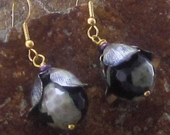 Flower Earrings, Flower Drop Earrings Beaded Earrings Dangle Earrings Agate Earrings, Black Earrings, Bohemian Gift for Girlfriend