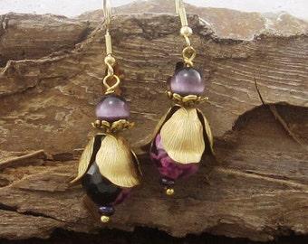 Beaded Drop Earrings, Purple Drop Earrings, Drop Earrings, Dangle Earrings, Pierced Earrings, Cute Earrings, Agate Earrings