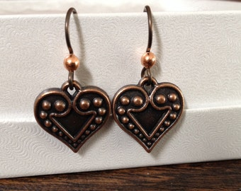 Copper Heart Hypoallergenic Niobium Earrings