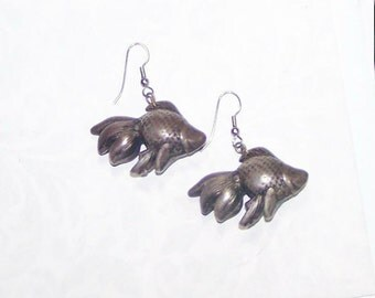Copper Earrings - Pewter Earrings - Bronze Earrings - Silver Earrings - BIg Earrings - Big Gold Fish - Fantail -Good Golly Miss Molly